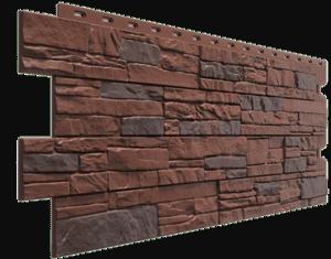 Фасадные панели Деке / Docke Stein (под песчаник), цвет темный орех, 1196х426 мм