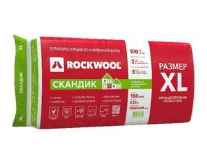 Теплоизоляционная гидрофобизированная плита из каменной ваты (1200х600мм) Rockwool / Роквул Лайт Баттс Скандик 100XL