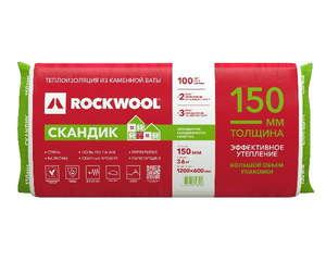 Теплоизоляционная гидрофобизированная плита из каменной ваты (1200х600мм) Rockwool / Роквул Лайт Баттс Скандик 150