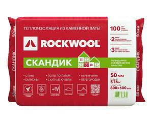 Теплоизоляционная гидрофобизированная плита из каменной ваты (800х600мм) Rockwool / Роквул Лайт Баттс Скандик 50