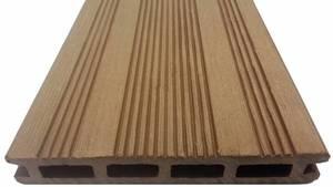 Террасная доска Экодек шовная, 165х24х4000 мм, цвет шоколад (светло-коричневый)