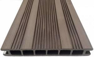 Террасная доска Экодек шовная, 165х24х6000 мм, цвет венге (темно-коричневый)