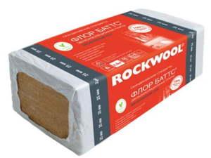 Жесткая гидрофобизированная теплоизоляционная плита (1000х600мм) Rockwool / Роквул Флор Баттс И, упак. 4 плиты